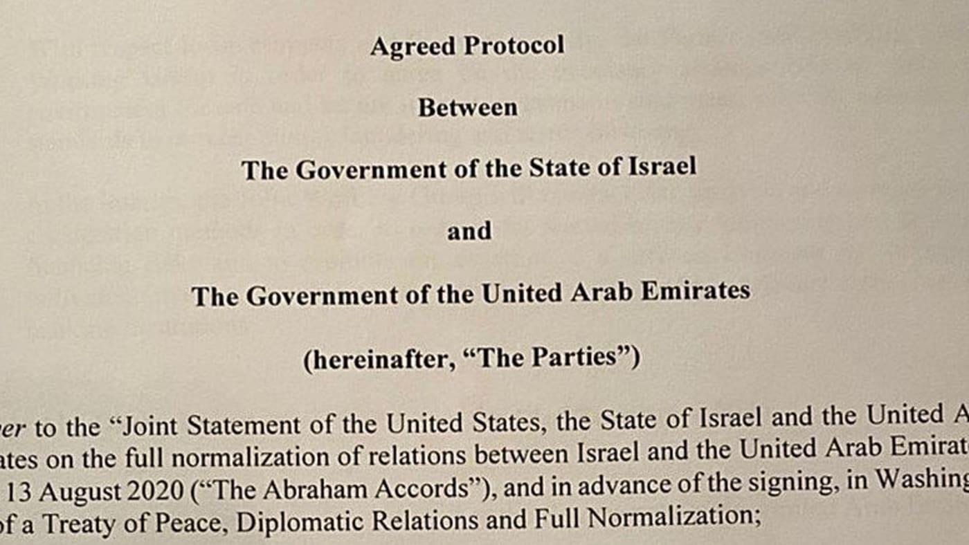 """El acuerdo que se firmará entre Israel y los Emiratos Árabes Unidos se definirá como un """"tratado de paz"""""""