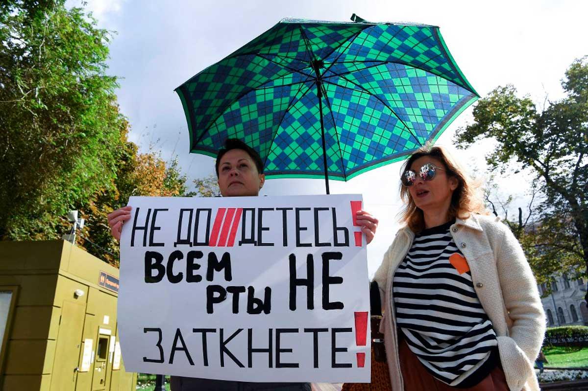 Los rusos protestan contra la represión del gobierno sobre los medios independientes