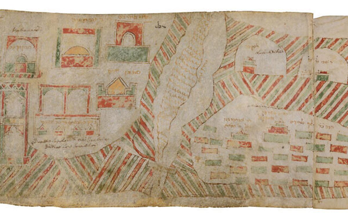 Museo expone un pergamino pintado a mano del siglo XIV que representa el antiguo Israel